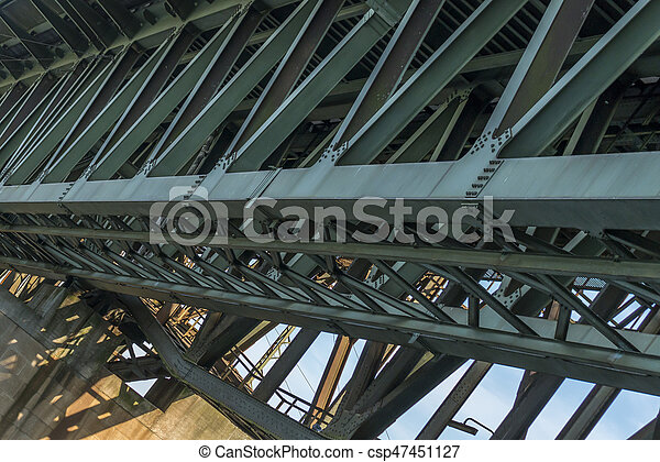 Iron framework of an Railroad bridge - csp47451127