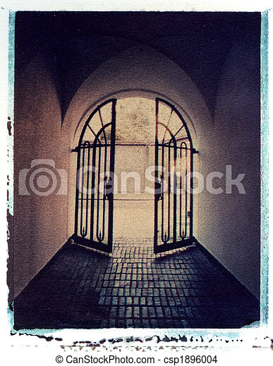 iron gate leading to light, Polaroid image transfer on watercolor paper - csp1896004