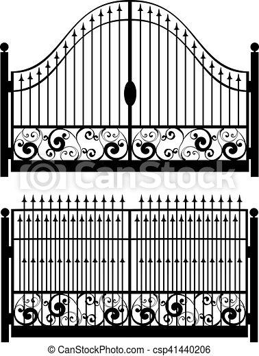 Iron Gate Silhouette Decorative Black Silhouette Of Iron