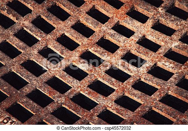 iron grid to sewerage - csp45572032