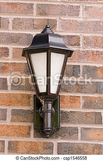 Iron Lamp on Brick Wall - csp1546558