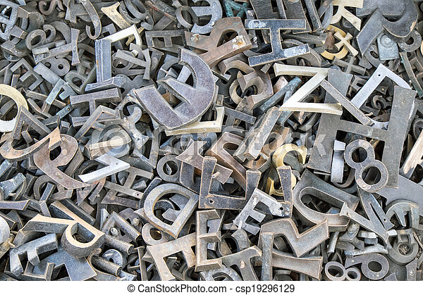 Iron letters and numbers - csp19296129