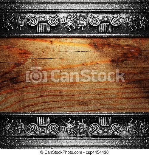 iron ornament on wood  - csp4454438