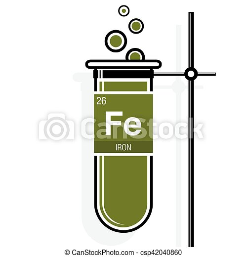 Iron symbol on label in a green test tube with holder clip art iron symbol on label in a green test tube with holder element number 26 of urtaz Gallery