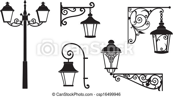 Iron wrought lanterns decorative - csp16499946
