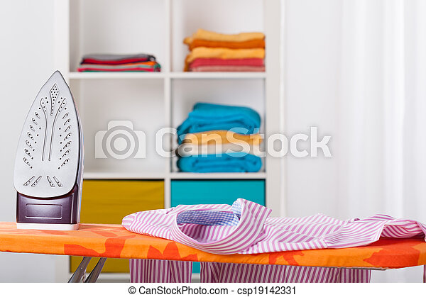 Ironing and cleaning at home - csp19142331