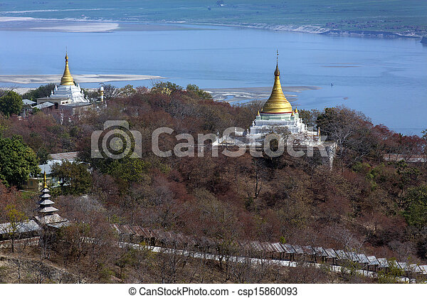 Irrawaddy River from Sagaing Hill - Myanmar - csp15860093