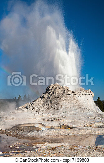 Irregular eruption in Castle Geyser in Yellowstone - csp17139803