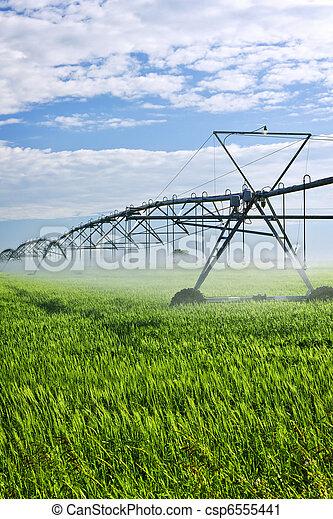 Irrigation equipment on farm field - csp6555441