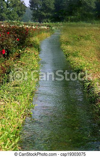 Irrigation system in flower garden - csp19303075