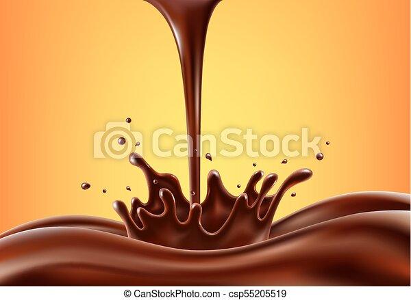 irrigation, vecteur, illustration, chocolat - csp55205519