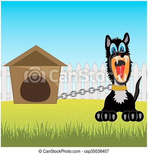 Perro irritante encadenado - csp35038407