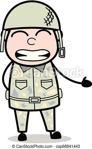 Irritated - Cute Army Man Cartoon Soldier Vector Illustration - csp68841443