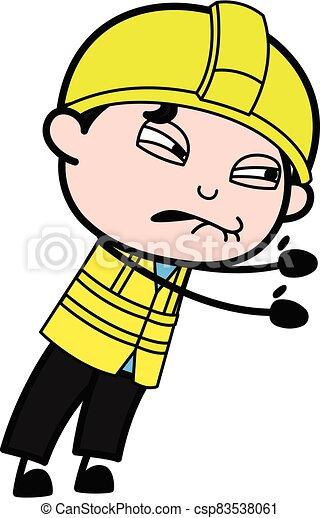 Irritated Engineer cartoon illustration - csp83538061