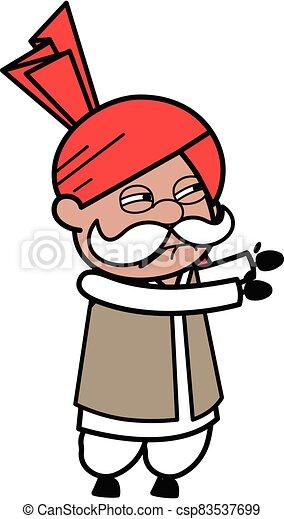 Irritated Haryanvi Old Man cartoon illustration - csp83537699