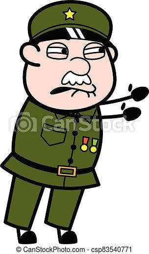 Irritated Military Man cartoon illustration - csp83540771