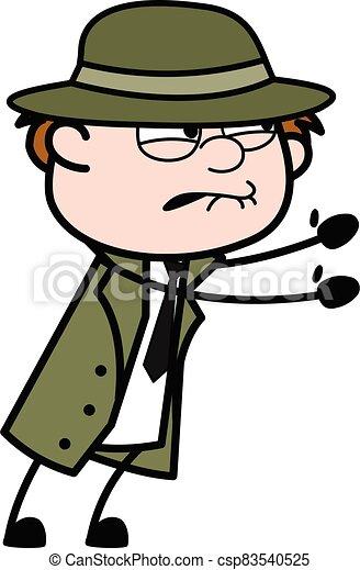Irritated Spy cartoon illustration - csp83540525