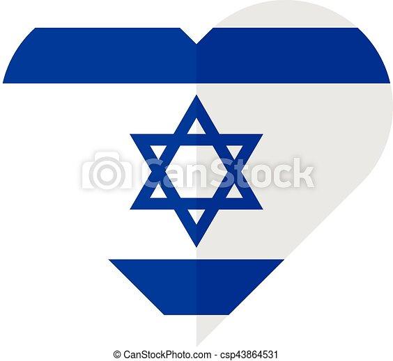 Isarael flat heart flag - csp43864531