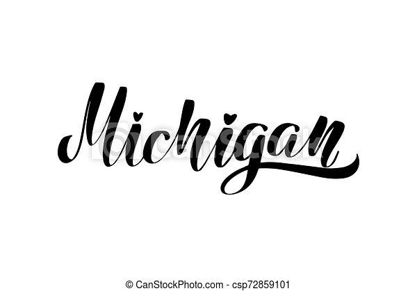 iscrizione, michigan, scritto mano - csp72859101