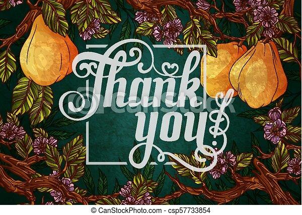 iscrizione, ringraziare, fondo, frutte, mela cotogna, lei, fiori - csp57733854