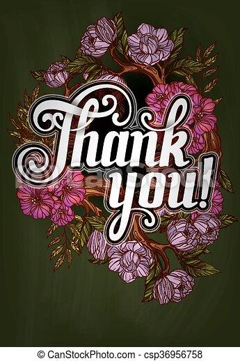 iscrizione, ringraziare, manifesto, you!, sagoma, decorato, fiori - csp36956758