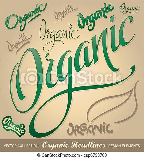 iscrizione, set, organico, (vector), mano - csp6733700