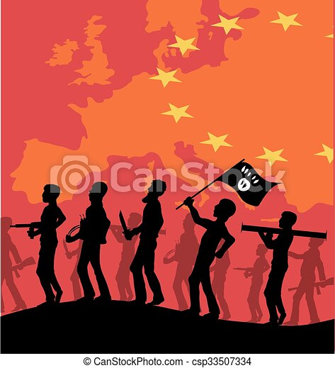 Isis silhouette on european map. on