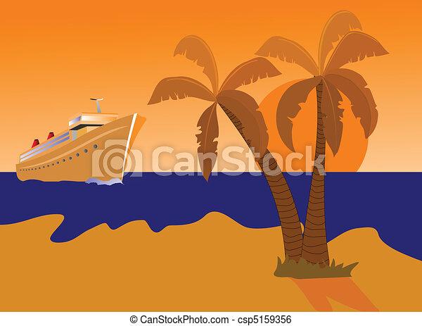 Barco crucero e isla desierta - csp5159356