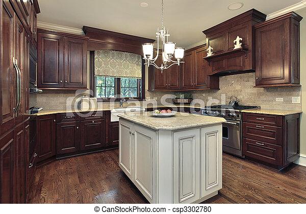 Isla, blanco, cocina, granito. Isla, lujo, granito, hogar, blanco ...