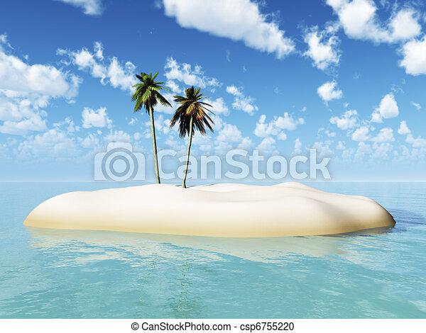 Una isla tropical con dos palmeras. - csp6755220