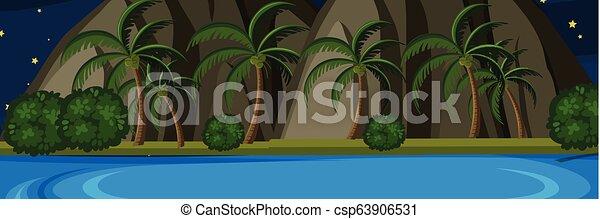 La isla de la naturaleza en la escena nocturna - csp63906531