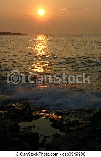 isla, gerrish, salida del sol - csp0349986