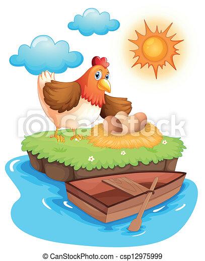 Una gallina con huevos en una isla - csp12975999