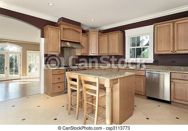 Isla, madera, cocina, granito. Madera, isla, granito,... fotos de ...