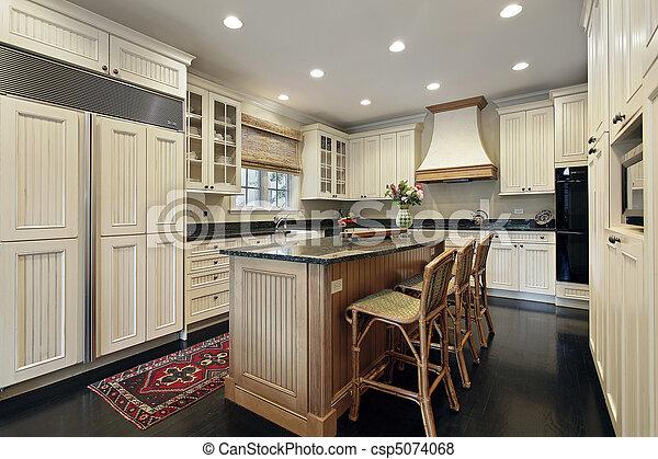 Isla, madera, cocina, granito. Isla, madera, casa luxury ...