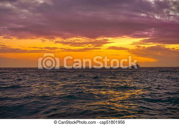 Isla Mujeres island Caribbean beach sunset - csp51801956