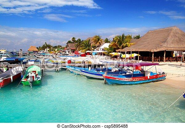 Isla Mujeres island dock port pier colorful Mexico - csp5895488