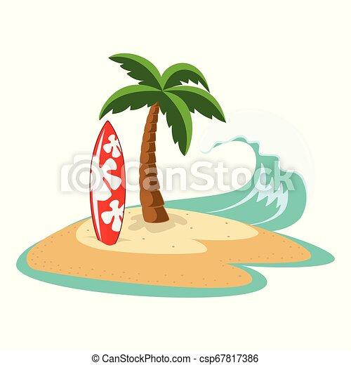 Isla con palmera y tabla de surf - csp67817386