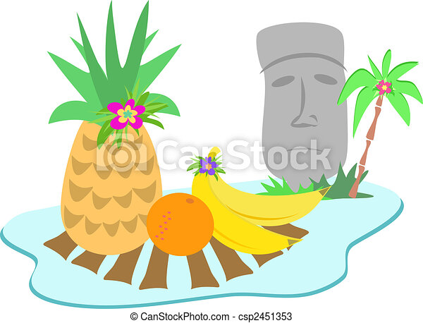 Grficos vectoriales de isla pascua estatua moai fruits  Here