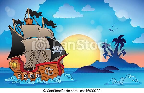 Un barco pirata cerca de la isla 3 - csp16630299
