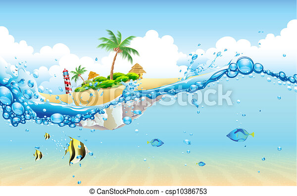 Isla desde el agua - csp10386753