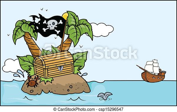 La isla del tesoro tropical con barco - csp15296547