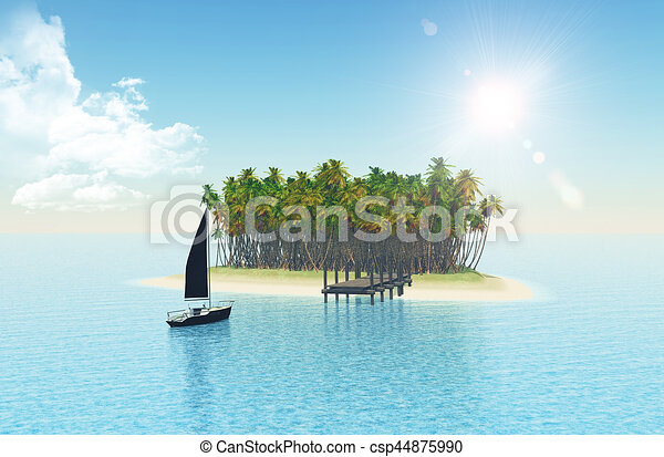 Isla tropical 3D con embarcadero - csp44875990