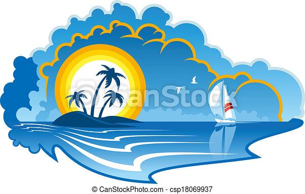 Idílico isla tropical con un yate - csp18069937