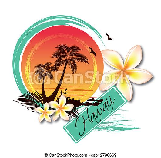 Ilustración de isla tropical - csp12796669