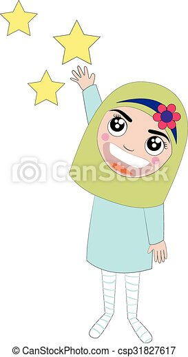 Islam Girl Cartoon Vector