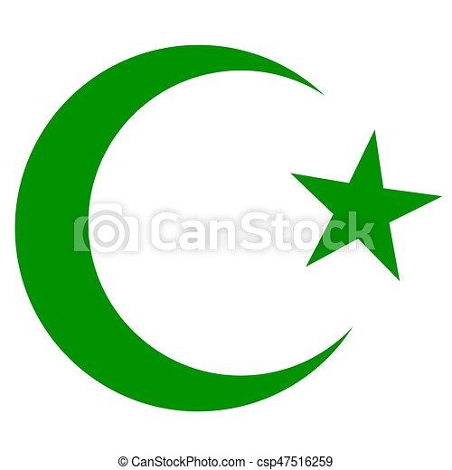 islam, symbool, donkergroen, halvemaan, ster. islam, symbool, kleur