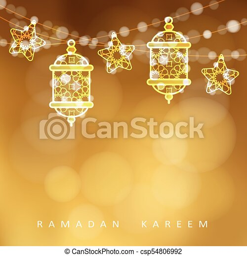 Islamic Greeting Card Garlands With Oriental Arabic Lanterns Stars And Lights Golden Vector Illustration Background Invitation For Muslim Holy