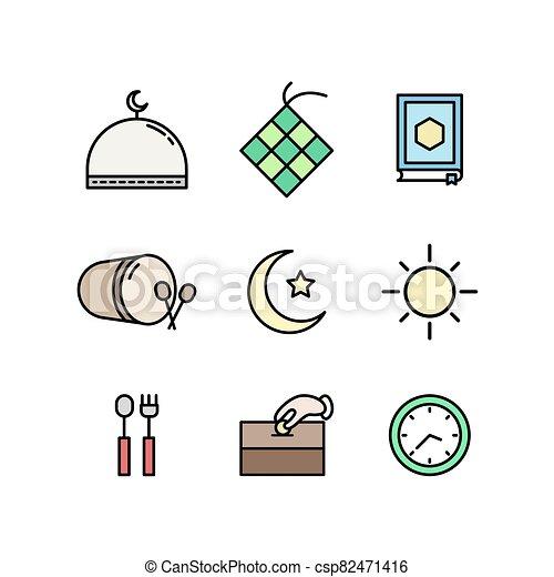 Islamic Icon Ramadhan And Eid Mubarak Icon Canstock