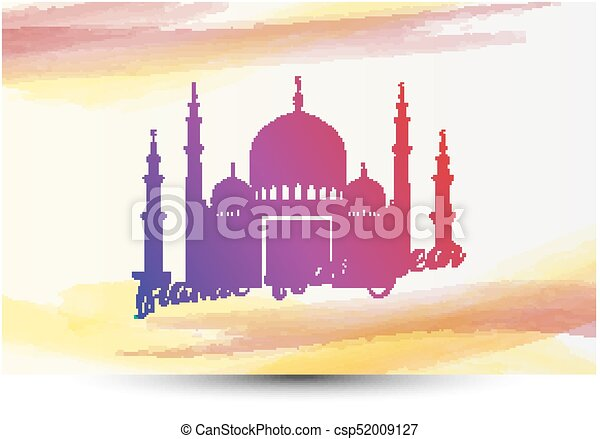 Vector illustration of islamic new year greeting card with mosque islamic new year greeting card with mosque csp52009127 m4hsunfo